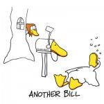 Another Bill by John Baron humorous design of duck passed out at mailbox with bills as debt gift idea.
