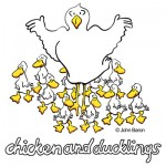Chicken And Ducklings by John Baron humorous recipe gift design for kitchen and culinary cooks.