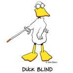 Duck Blind by John Baron humorous duck hunter gift idea. The duck is blind has sunglasses and a cane.