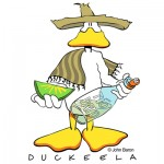 Duckeela by John Baron humorous Mexican tequila drinking duck design for drunk gift ideas.