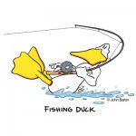 Fishing Duck by John Baron humorous fishing gift idea. The ducks being dragged across the water with a pole in his hands.