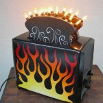 Hot Rod Flame Toaster, toaster art by John Baron. Up cycle toaster has nightlights as kitchen artwork.