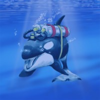 Scuba orca by John Baron is an orca whale wearing scuba tanks and regulator with the mouth piece in it's blow hole.