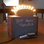 Chalkboard toaster art by John Barontoaster art by John Baron. Up cycle toaster has nightlights as kitchen artwork with a chalkboard.