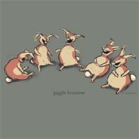 Giggle Bunnies by John Baron shows five rabbits laughing.