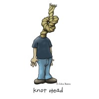 Knot Head by John Baron humorous rope head design for climbing, scout and sail gift items.