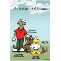 The Balanced Foursome golf cartoon artwork by John Baron with golfer dog duck and squirrel each with attributes for game