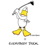 Everybody duck by John Baron shows a duck in back swing and is part of the DuckTales golf collection.