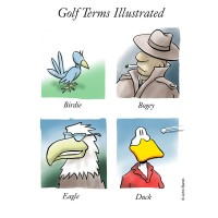 Golf Terms Illustrated by John Baron has an image of a birdie a likeness of Humphrey Bogart, an eagle and a duck. It is part of the DuckTales golf collection.