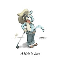 A Hole In Juan by John Baron shows a golfer leaning back on his driver, drinking, while the beverage spills out a hole in his belly and is part of the DuckTales golf collection.