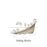 Sinking Birdies by John Baron shows a boat load of birds sinking and is part of the DuckTales golf collection.