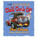 Poster design by John Baron for chili cook off has custom hot rod with cooking chili on back of car titled dual exhaust