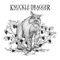 Knuckle Dragger wine label design by John Baron depiscting beast in a vineyard tangled in and smashing grapes.