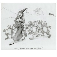 Cartoon by John Baron shows the princess and her little frogs and a real boy that is not one of hers
