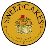 Logo design by John Baron for Seet Cakes bakery in Fall City Washington has frilly french style