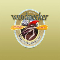 Woodpecker hefeweizen beer label design by John Baron shows a red headed woodpecker