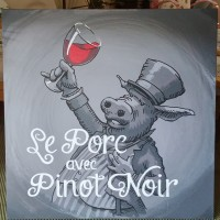 Le Porc Avec Pinot Noir 24x24 paint on wood.
