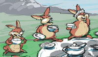 Giggles Tea Party by Honey is actually by John Baron and depicts an assortment of bunnies having tea benath a tree.